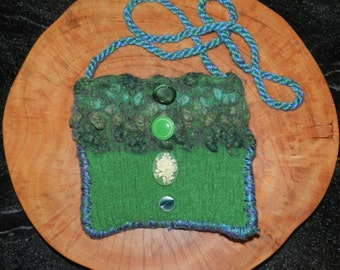 Hand Knit Green and White Felt Shoulder Bag - Two Greens