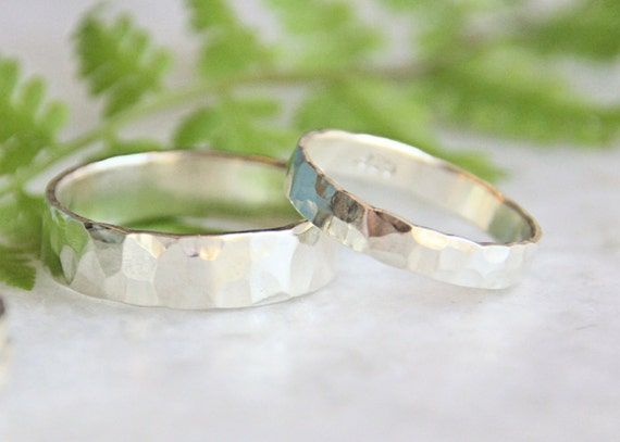 Hammered Silver Wedding Rings - Set of Two Rings- His and Hers- Eco Friendly Recycled Sterling Silver Matching Wedding Bands