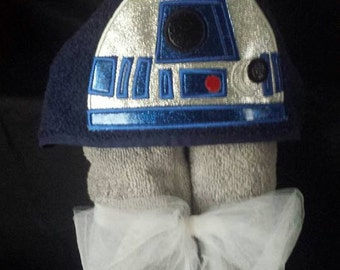 R2D2 Star Wars inspired hooded towel