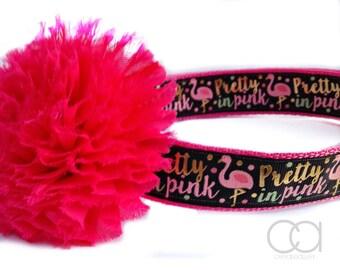 Flamingo dog collar, Pretty in Pink dog collar, summer dog collar, dog collar, Collars, dog accessories, large dog collar, dog collar
