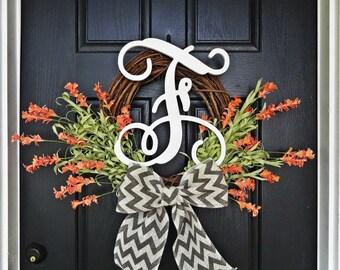 Welcome Spring, Hello Summer, Let's Get Married Wreath, With White Vine Monogram, Orange Flower Wreath, Peach Flower Wreath, Coral Wreath