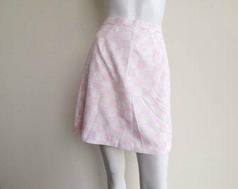 Vintage Pink and White High Waist Checkered Mini Skirt