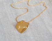 Gold filled name necklace, Love necklace, Gold heart necklace, Engraved heart necklace, Personalized necklace, Custom necklace, Bff gifts