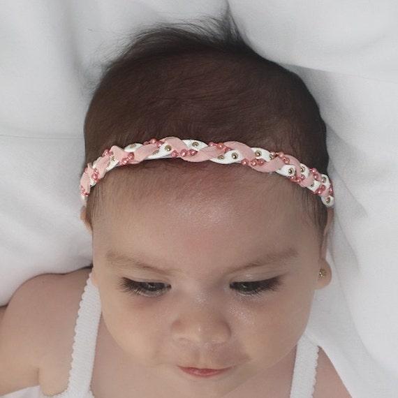 braided headband, Pink Headband, Infant Headbands, Newborn Headband, Baby Headband, White Headband, Braid headband