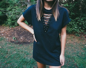 Simple Black Lace Up Tee // Lace Up Top // Lace Up Shirt // LF Inspired