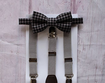 Boys Bow Tie and Suspenders, Charcoal Bow Tie, Boys First Birthday, Wedding Bow Tie, Ring Bearer Outfit, Baby Boy Bow Tie, Toddler Bow Tie