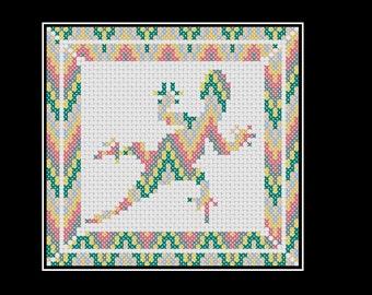 Cross stitch pattern: lizard with chevron design