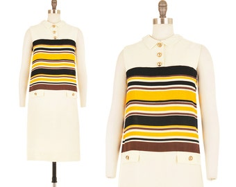 Apiary Dress / 1960s Mod Mini Black and Yellow 60s Space Age Striped Scooter Military Go-Go Twiggy Cream White Spring Summer Shift Medium M