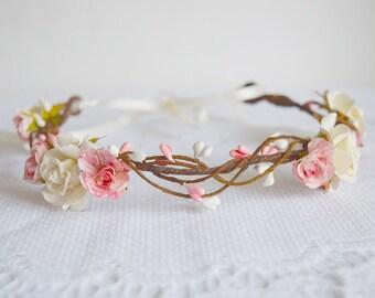Rose Flower Crown, rose and pip flower crown, bridal hair accessories, wedding hair accessories, flower circlet, floral crown, -AURORA-