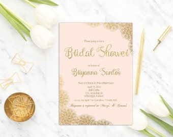 Pink and Gold Bridal Shower Invitation Printable, Lace Blush Pink Bridal Shower Invite, Printed or Digital Bridal Shower Invitation