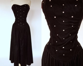 1980s black velvet dress, strapless, fit and flare, rhinestone, tea length, formal, prom, cocktail dress, Positively Ellyn, medium