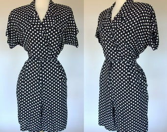 Polka dot romper, black and white, rayon, 90s, Large