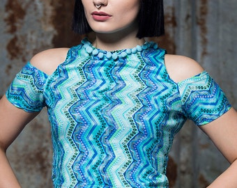 Cold Shoulder Crop Top in Blue Aztec Print Jersey by Get Crooked