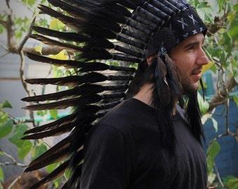 N73- Medium Black Feather Headdress