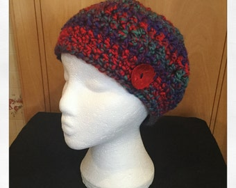 Slouchy Beanie, Beanie, Hat, Slouchy Hat, Multicolored hat, Multicolored beanie, Valentines present, Crochet hat, Crochet Beanie, Red Shell