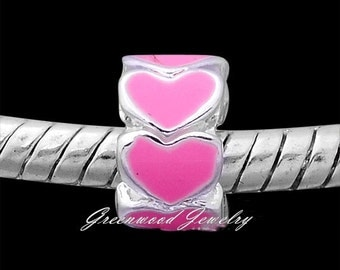 Endless Love in Pink. European Charm Bead For All Large Hole Charm Bracelet And Necklace Chain. Enamel Hearts. 5x8mm
