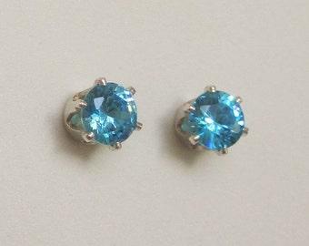 5mm Aqua Blue CZ Stud Earrings, blue cubic zirconia earrings, .925 Sterling Silver, .50 carat size simulated diamond gemstone ea. blue stud