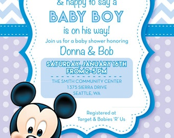 mickey mouse baby shower invitations | etsy, Baby shower invitations