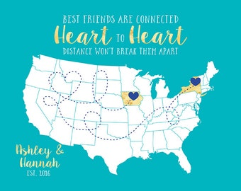 Gift for Best Friend, Long Distance Friendship Quote Map Present Personalized Quote, Popular Gift, Birthday Gift for Sister, Pen Pal | WF290
