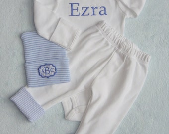 Baby Boy Coming Home Outfit. Name Bodysuit. Pants with Seersucker cuff. Coming Home from Hospital. Newborn Baby Boy Outfit