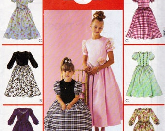 McCalls 3464, Girls 3,4,5,6 Fancy Dress, Special Occasion Dress, Lace Applique, Ankle Length, Gathered Skirts, Lots of Options, Flower Girl