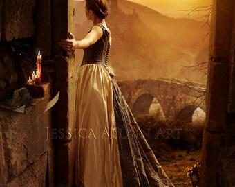 beautiful fantasy woman scenic art print
