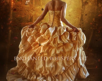 fantasy woman yellow gown in forest art print