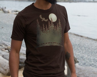 Mens Brown T Shirt with Owl Moon and Trees Nature Print Silk Screen American Apparel Original Art Clothing for Men