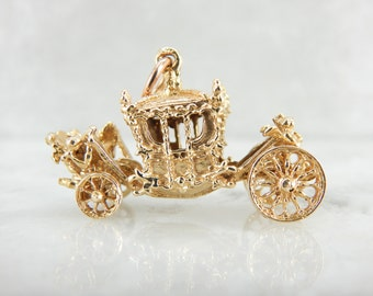 Fairy Tale Come True, Whimsical Gold Carriage Pendant FQ7RX5-D
