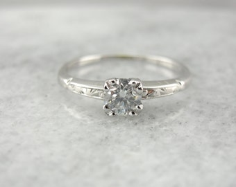 Decorative Diamond Solitaire Engagement Ring in White Gold 2Y3RR1-N