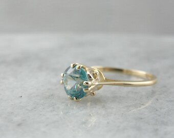 Wedding Cake Ring:  Blue Zircon Solitaire 73D8J3-N
