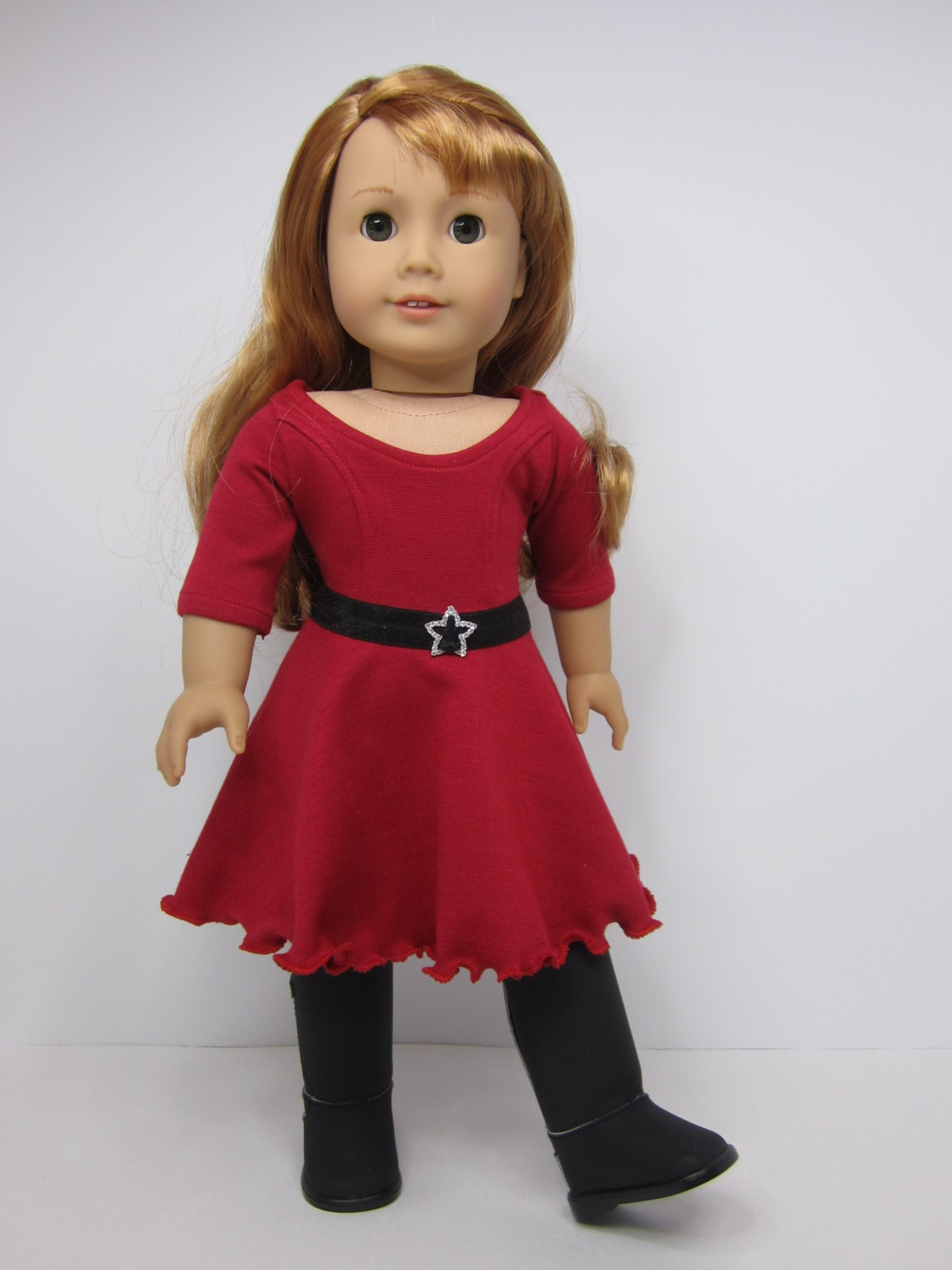 American Girl doll clothes Red skater dress and belt