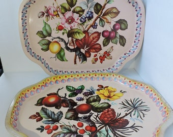 England Vintage Floral Metal Trays | Set of 2 | Pink and Yellow Flowers with Fruit Design | Antique Tin Dinner Trays | GreenTreeBoutique