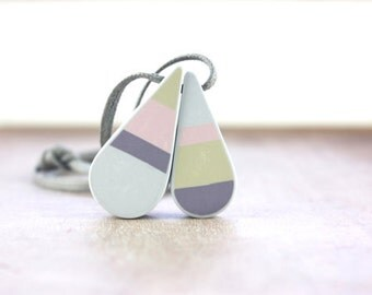 Pastel tear drop pendant, polymer clay mosaic jewelry, cord necklace