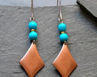Turquoise Howlite earrings, Geometric dangle earrings, Long boho earrings, Gemstone earrings, Copper rhombus earrings, Ethnic jewelry, 1133C