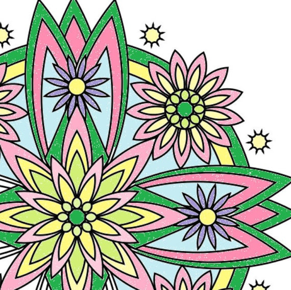 Flower Mandala Coloring Page To Print And By LittleShopTreasures
