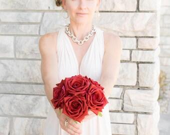 "RED Silk Wedding Bouquet Natural Touch Deep Red Roses Silk Flower Bride Bouquet - 8"" Almost Fresh"