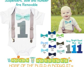 Baby Boy First Birthday Outfit - Grey and Green Teal - First Birthday Shirt - First Birthday Clothes - 1st Birthday - Suspenders Bow Tie