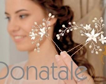 Bridal hair pins, Hair vine pins, Rustic hair pins, Wedding hair pins, Bridesmaids hair pins, Bohemian, Woodland Bridal Headpiece- Sharlotte