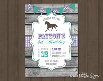 Cowgirl Country Teal Horse Birthday Invitation Digital Download