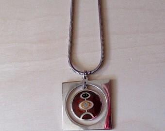 De Passille Sylvestre Modernist Abstract Heart Person Pendant Necklace Kinetic Enamel Signed