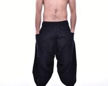Black Samurai Pants, Wide Leg Pants, Cotton Pants, Yoga pants, Unisex Pants, One Size Fit All
