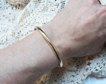 14K Solid Gold Cuff - 8ga - 3.25 x 1.63mm - half round 8 gauge - Elegant gold cuff