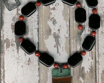 Mad-A-Bout You - Madagascar Agate, Onyx, Red Jasper, Stelring Silver Necklace