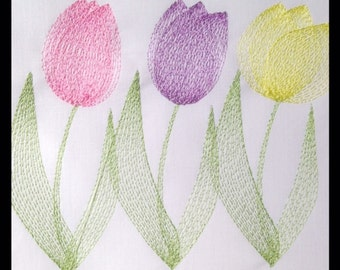 Tulip Flowers Embroidery Design Machine Embroidery Files in pes, dst, vip, jef, hus and vp3 Formats - Instant Download