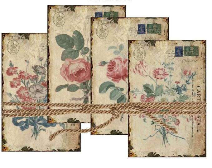 Shabby French Rose Digital Postcards, Printable Antique Rose Illustrations, Carte Postale Collage Sheet Download