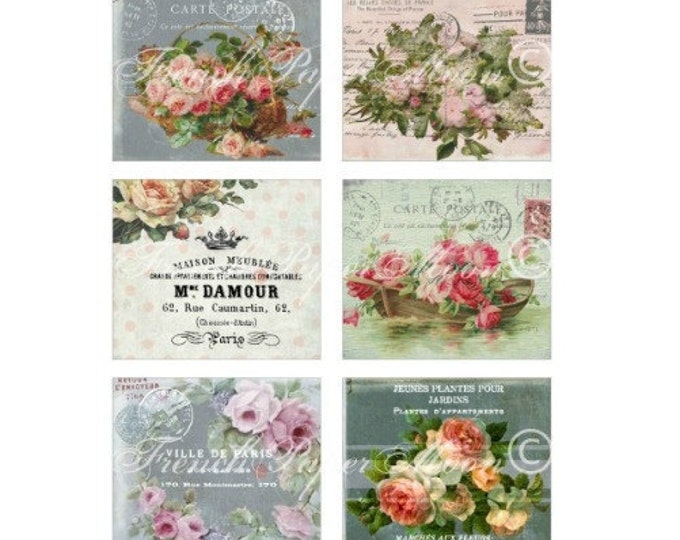 French Digital Tags, Vintage Digital Carte Postale, Tag Collection, French Graphics, Antique Florals