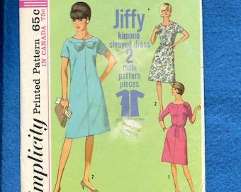 1960's Simplicity 5985 French Dart Kimono Sleeve Shift Dress Size 16.5 UNCUT