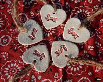 Small Love Heart Ornaments, Set of 5