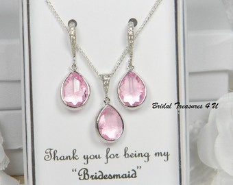 Pink / Silver Bridesmaid Necklace Set, Pink Bridesmaid jewelry, Bridesmaid Gift Set,Personalized Note,Light Pink, Wedding Jewelry Set -CZS1